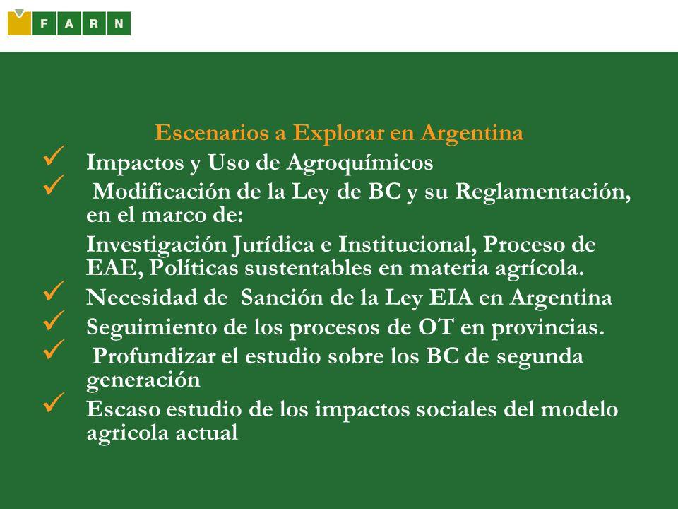 Escenarios a Explorar en Argentina Impactos y Uso de Agroquímicos Modificación de la Ley de BC y su Reglamentación, en el marco de: Investigación Jurí