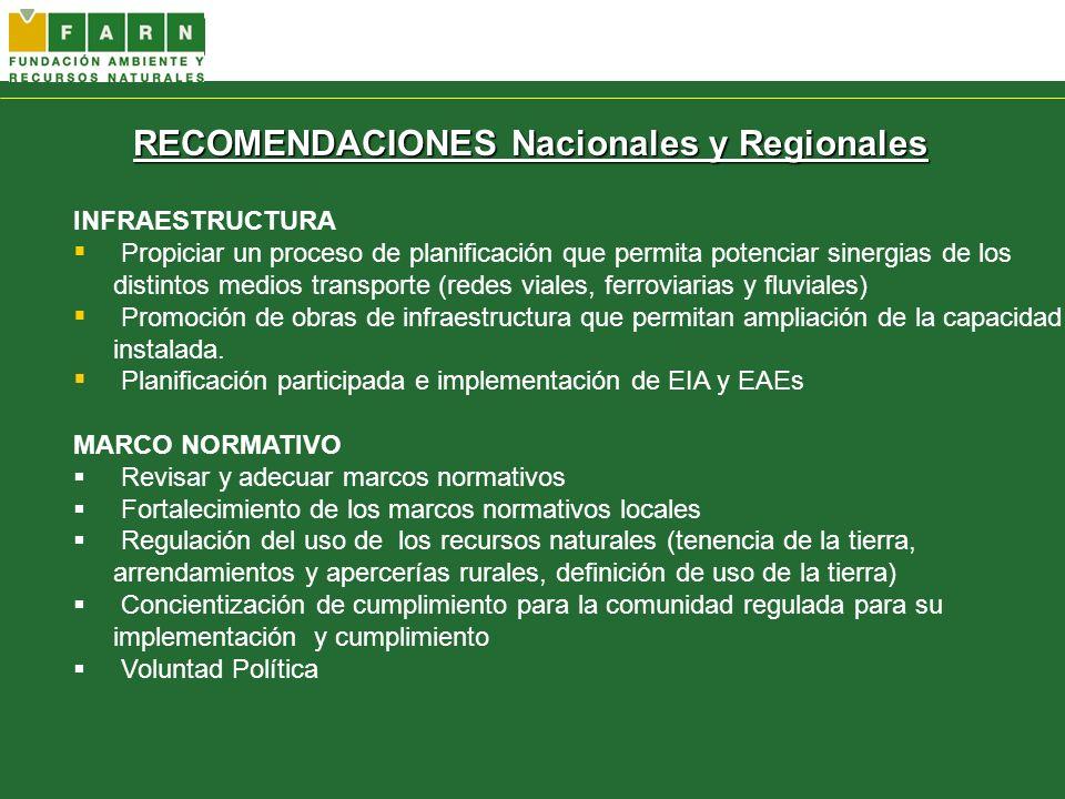 RECOMENDACIONES Nacionales y Regionales INFRAESTRUCTURA Propiciar un proceso de planificación que permita potenciar sinergias de los distintos medios