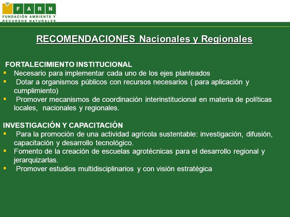 RECOMENDACIONES Nacionales y Regionales FORTALECIMIENTO INSTITUCIONAL Necesario para implementar cada uno de los ejes planteados Dotar a organismos pú