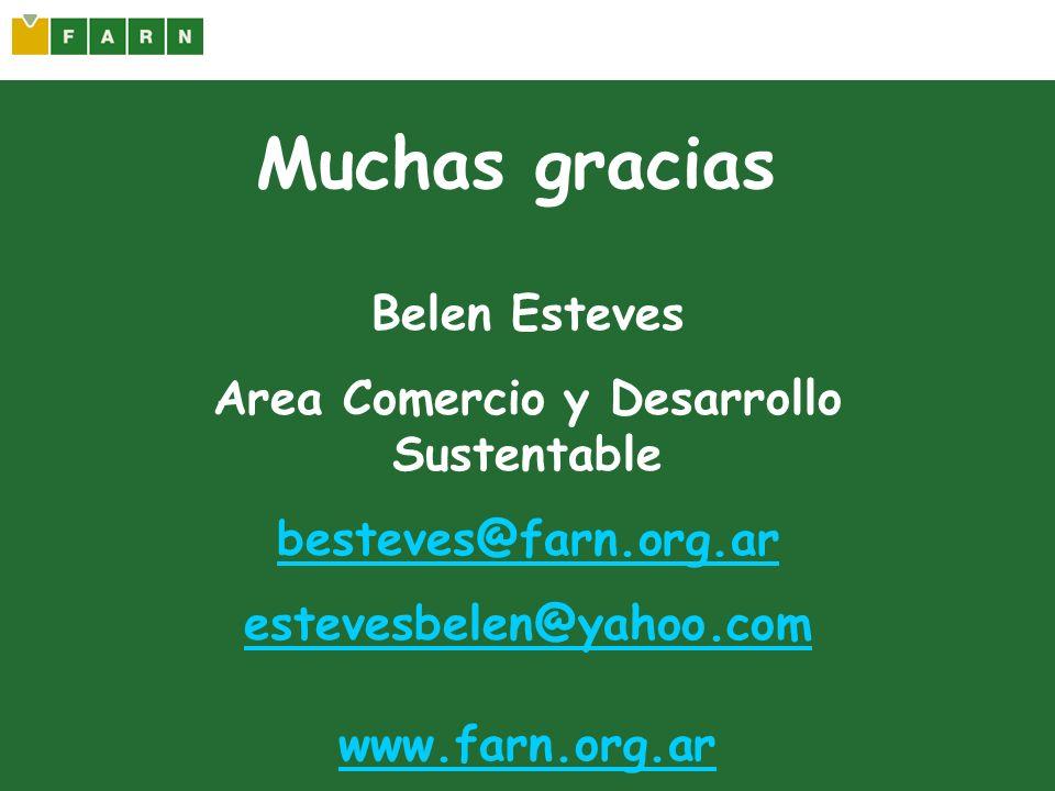 Muchas gracias Belen Esteves Area Comercio y Desarrollo Sustentable besteves@farn.org.ar estevesbelen@yahoo.com www.farn.org.ar