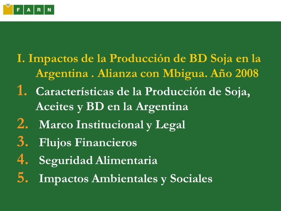 I. Impactos de la Producción de BD Soja en la Argentina. Alianza con Mbigua. Año 2008 1. Características de la Producción de Soja, Aceites y BD en la