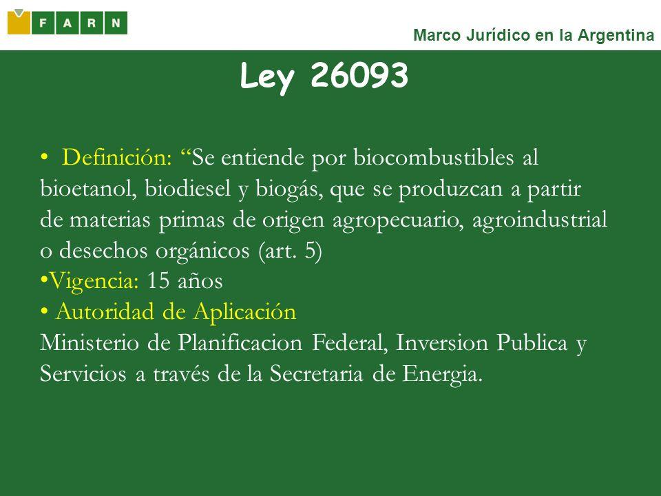 Marco Jurídico en la Argentina Ley 26093 Definición: Se entiende por biocombustibles al bioetanol, biodiesel y biogás, que se produzcan a partir de ma