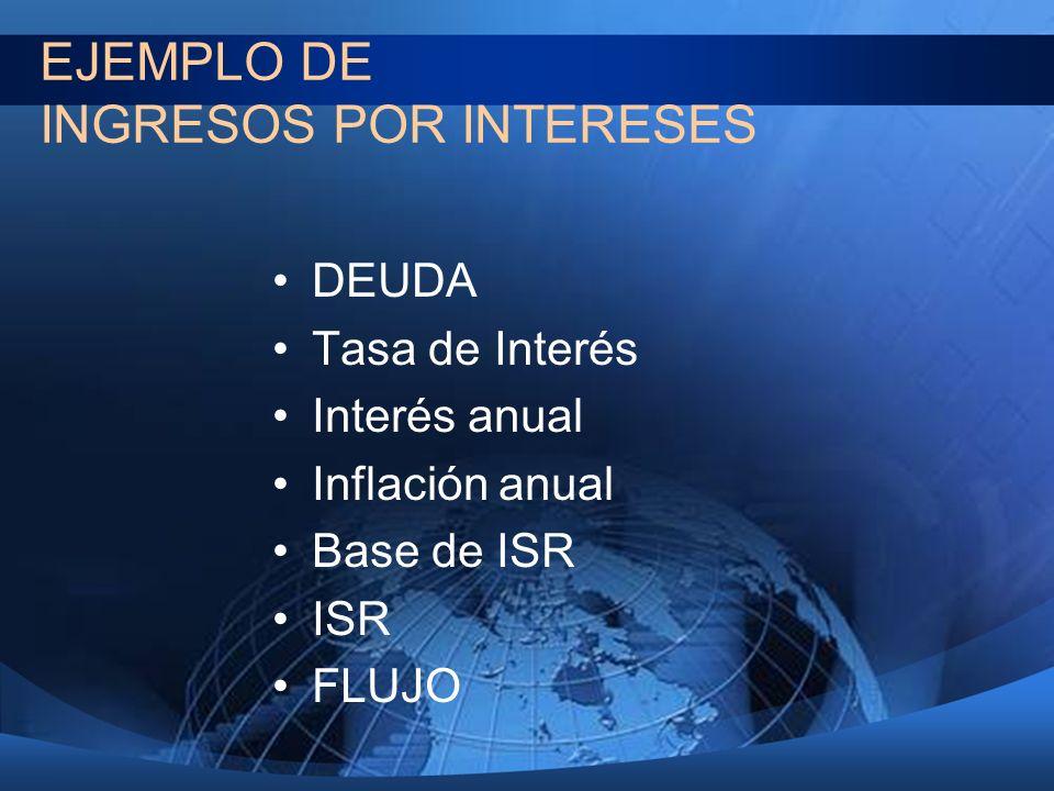 EJEMPLO DE INGRESOS POR INTERESES DEUDA Tasa de Interés Interés anual Inflación anual Base de ISR ISR FLUJO