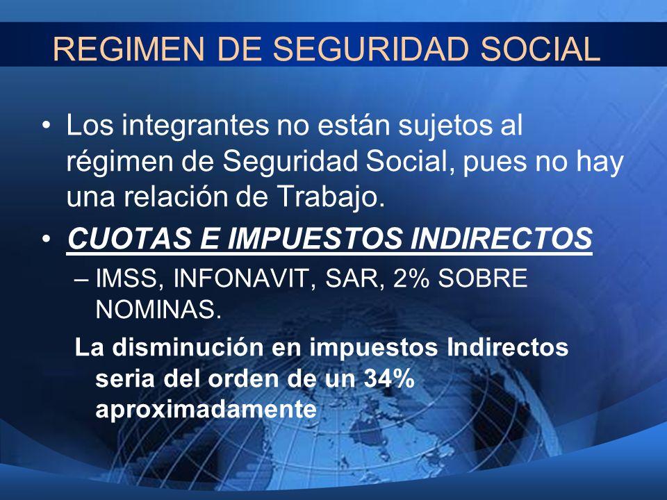 REGIMEN DE SEGURIDAD SOCIAL Los integrantes no están sujetos al régimen de Seguridad Social, pues no hay una relación de Trabajo. CUOTAS E IMPUESTOS I