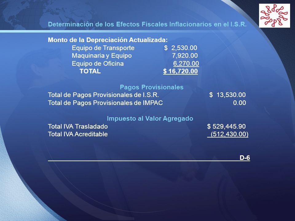 LOGO Determinación de los Efectos Fiscales Inflacionarios en el I.S.R. Monto de la Depreciación Actualizada: Equipo de Transporte $ 2,530.00 Maquinari