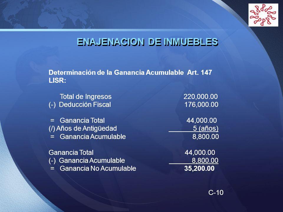 LOGO ENAJENACION DE INMUEBLES Determinación de la Ganancia Acumulable Art. 147 LISR: Total de Ingresos 220,000.00 (-) Deducción Fiscal 176,000.00 = Ga