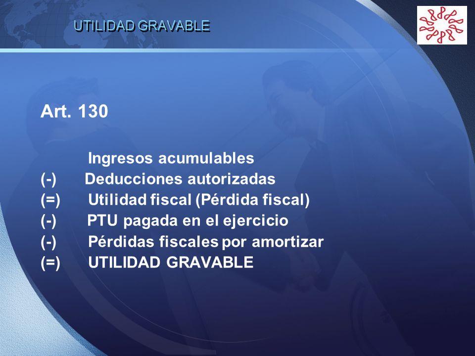 LOGO UTILIDAD GRAVABLE Art. 130 Ingresos acumulables (-) Deducciones autorizadas (=)Utilidad fiscal (Pérdida fiscal) (-) PTU pagada en el ejercicio (-