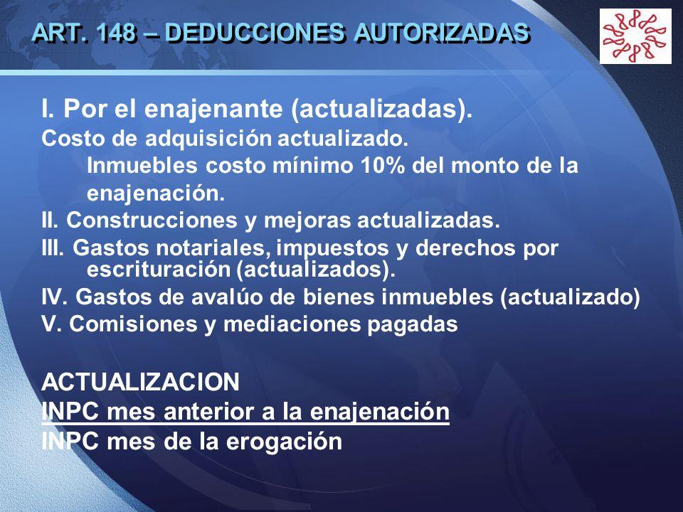 LOGO ART. 148 – DEDUCCIONES AUTORIZADAS I. Por el enajenante (actualizadas). Costo de adquisición actualizado. Inmuebles costo mínimo 10% del monto de