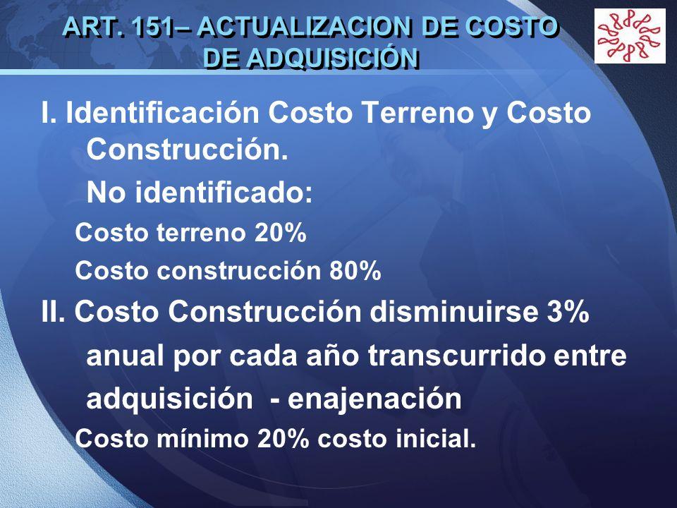 LOGO ART. 151– ACTUALIZACION DE COSTO DE ADQUISICIÓN I. Identificación Costo Terreno y Costo Construcción. No identificado: Costo terreno 20% Costo co