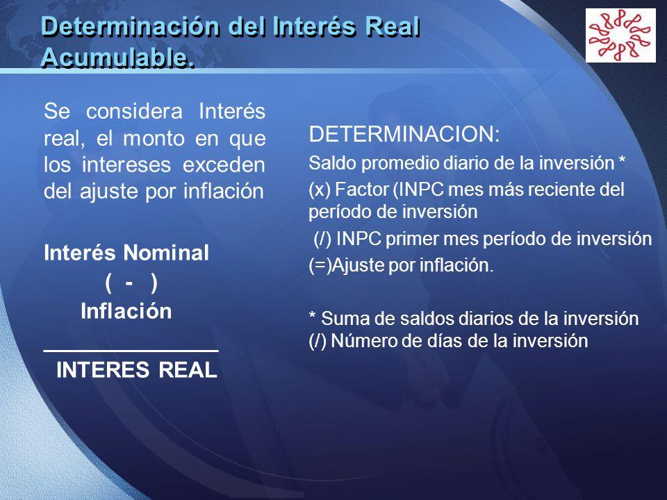 LOGO Determinación del Interés Real Acumulable. Se considera Interés real, el monto en que los intereses exceden del ajuste por inflación Interés Nomi