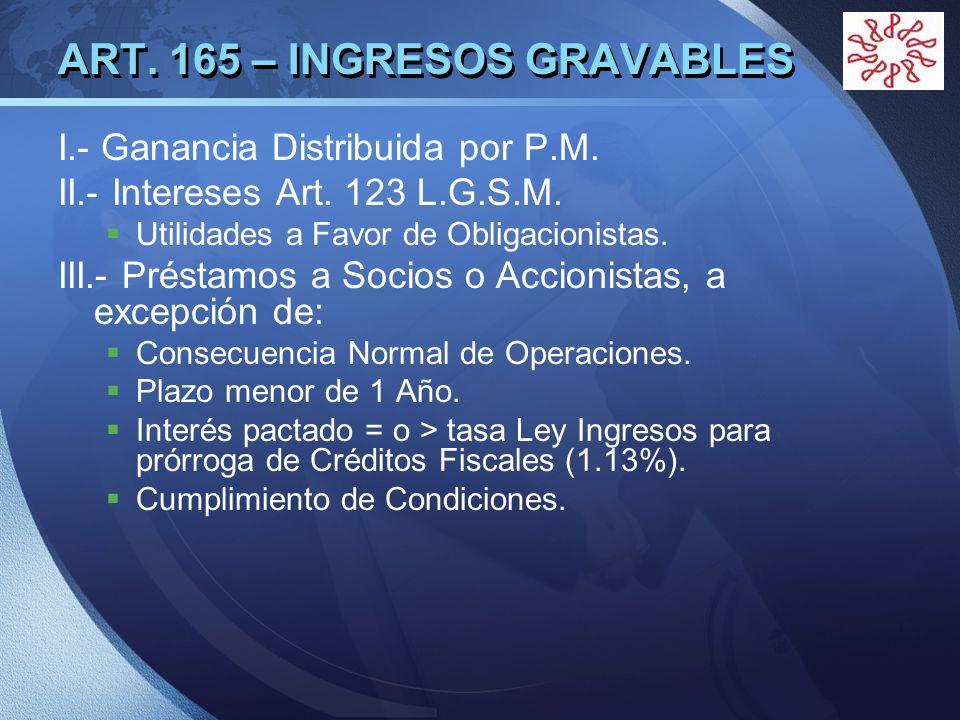 LOGO ART. 165 – INGRESOS GRAVABLES I.- Ganancia Distribuida por P.M. II.- Intereses Art. 123 L.G.S.M. Utilidades a Favor de Obligacionistas. III.- Pré