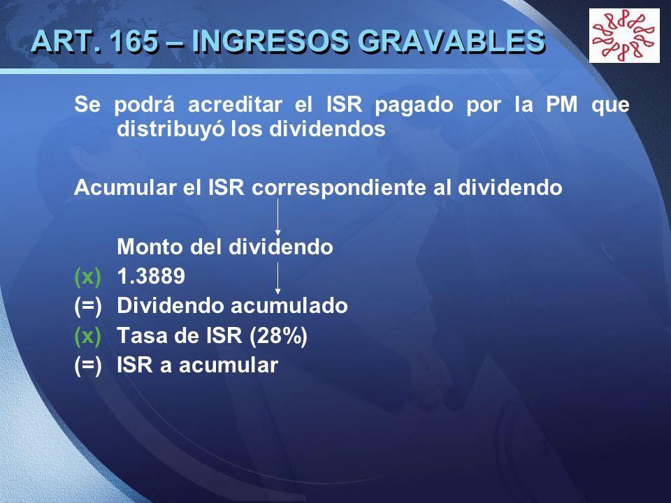 LOGO ART. 165 – INGRESOS GRAVABLES Se podrá acreditar el ISR pagado por la PM que distribuyó los dividendos Acumular el ISR correspondiente al dividen