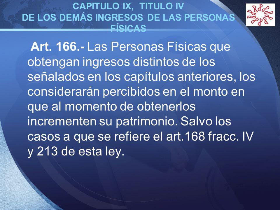 LOGO CAPITULO IX, TITULO IV DE LOS DEMÁS INGRESOS DE LAS PERSONAS FÍSICAS Art. 166.- Las Personas Físicas que obtengan ingresos distintos de los señal