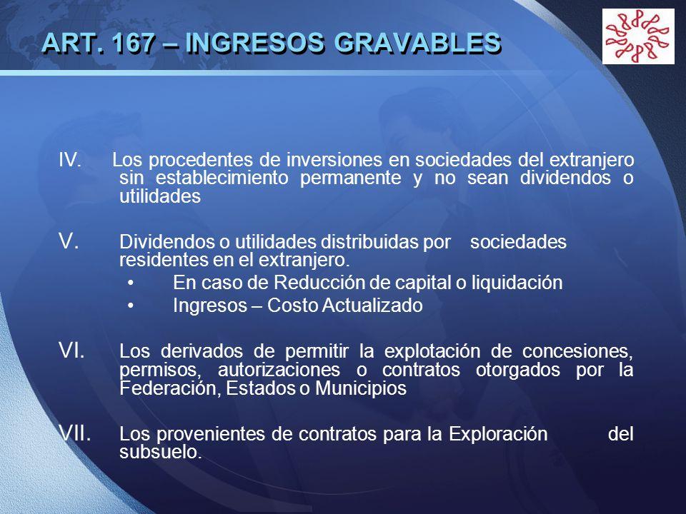 LOGO ART. 167 – INGRESOS GRAVABLES IV. Los procedentes de inversiones en sociedades del extranjero sin establecimiento permanente y no sean dividendos