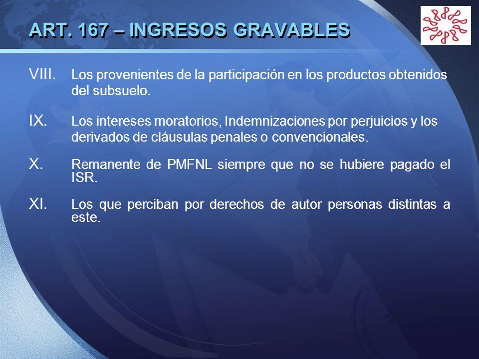 LOGO ART. 167 – INGRESOS GRAVABLES VIII. Los provenientes de la participación en los productos obtenidos del subsuelo. IX. Los intereses moratorios, I