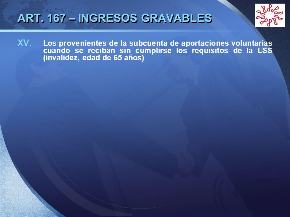 LOGO ART. 167 – INGRESOS GRAVABLES XV. Los provenientes de la subcuenta de aportaciones voluntarias cuando se reciban sin cumplirse los requisitos de