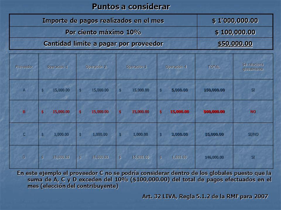Puntos a considerar Importe de pagos realizados en el mes $ 1'000,000.00 Por ciento máximo 10% $ 100,000.00 Cantidad límite a pagar por proveedor $50,