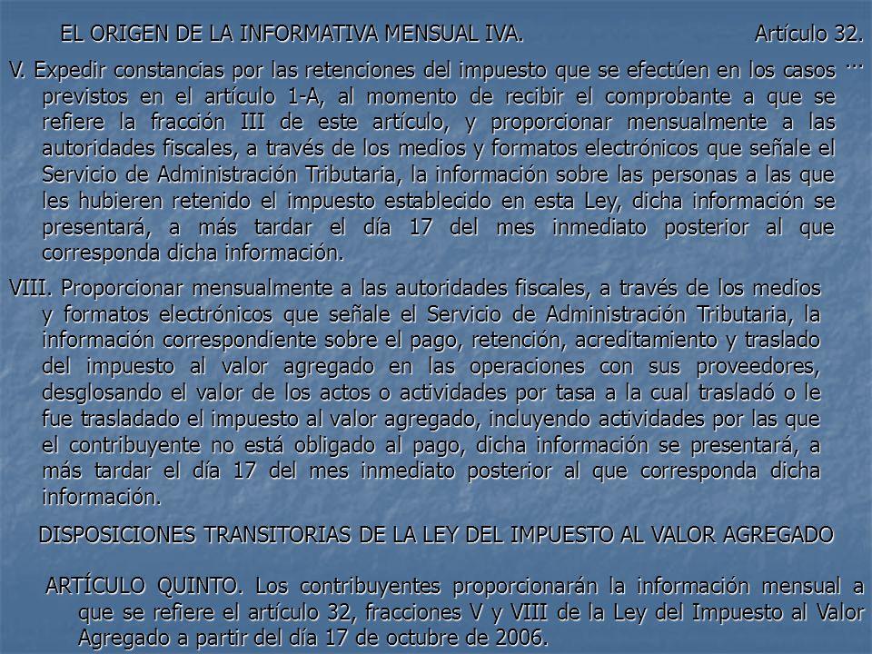 EL ORIGEN DE LA INFORMATIVA MENSUAL IVA. Artículo 32.... V. Expedir constancias por las retenciones del impuesto que se efectúen en los casos previsto