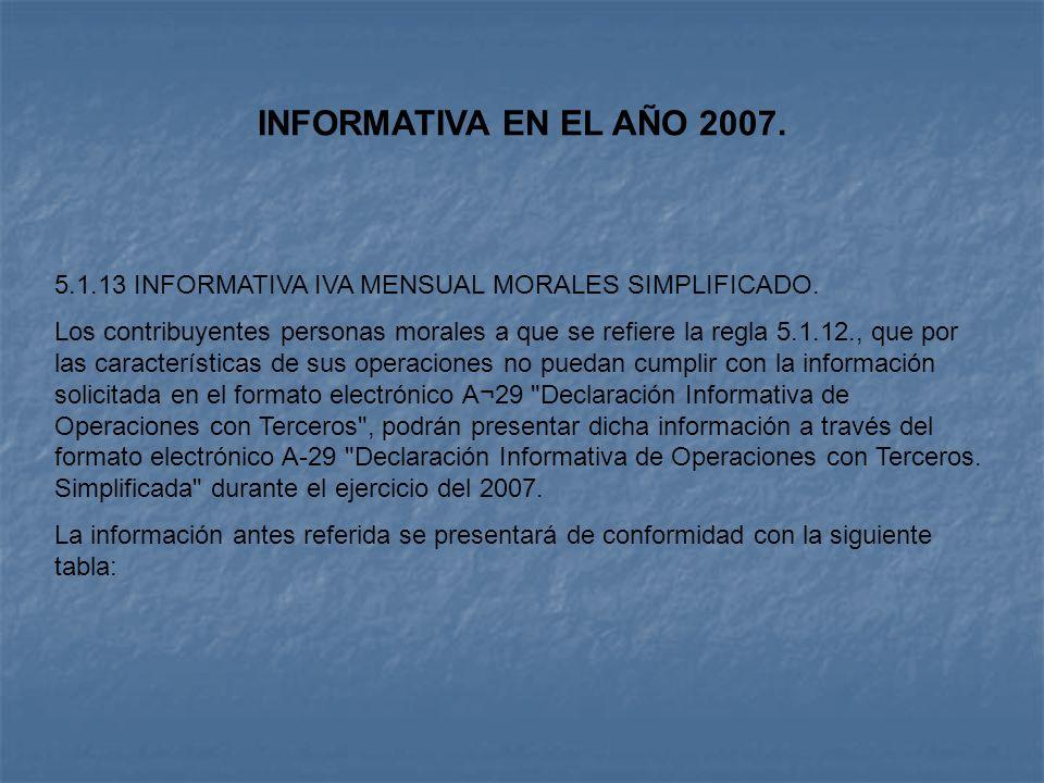 INFORMATIVA EN EL AÑO 2007. 5.1.13 INFORMATIVA IVA MENSUAL MORALES SIMPLIFICADO. Los contribuyentes personas morales a que se refiere la regla 5.1.12.
