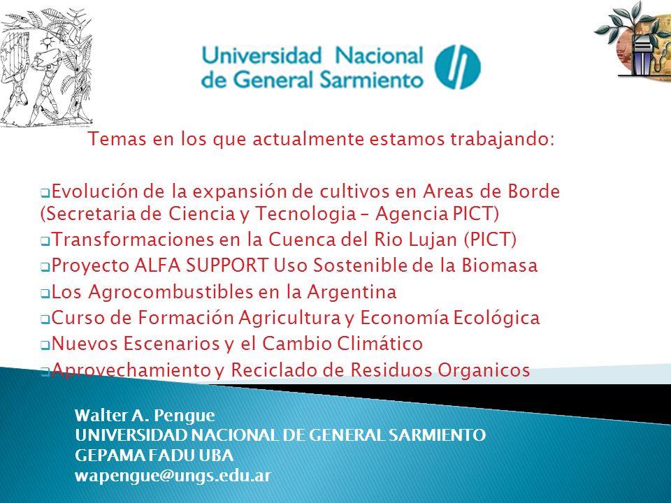 Temas en los que actualmente estamos trabajando: Evolución de la expansión de cultivos en Areas de Borde (Secretaria de Ciencia y Tecnologia – Agencia
