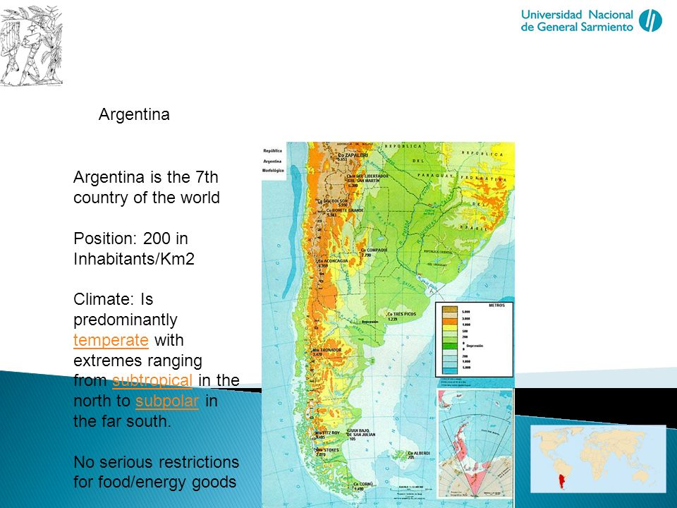 Biomass in Future Landscapes Sustainable Use of Biomass and Spatial Development Argentina Argentina is the 7th country of the world Position: 200 in I