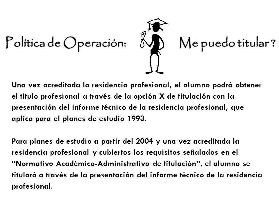Una vez acreditada la residencia profesional, el alumno podrá obtener el titulo profesional a través de la opción X de titulación con la presentación
