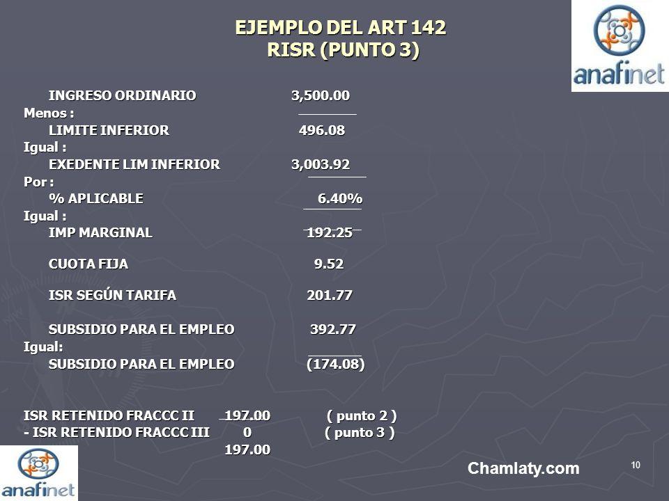 10 EJEMPLO DEL ART 142 RISR (PUNTO 3) INGRESO ORDINARIO3,500.00 Menos : LIMITE INFERIOR 496.08 Igual : EXEDENTE LIM INFERIOR3,003.92 Por : % APLICABLE