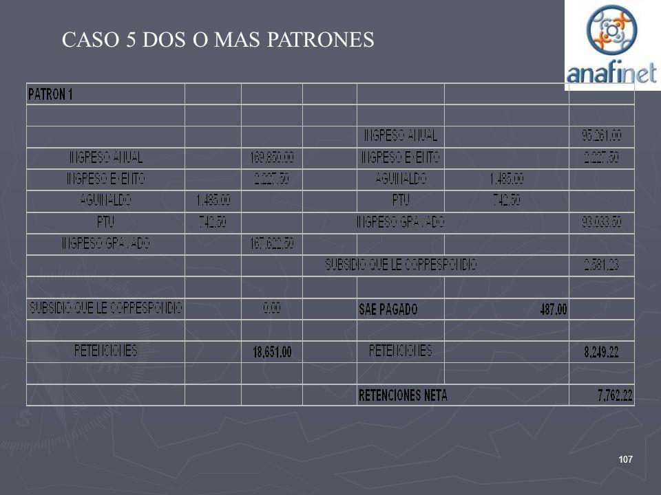 107 CASO 5 DOS O MAS PATRONES