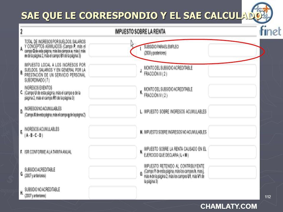 112 SAE QUE LE CORRESPONDIO Y EL SAE CALCULADO CHAMLATY.COM