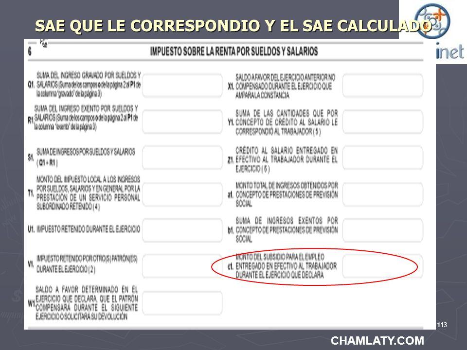 113 SAE QUE LE CORRESPONDIO Y EL SAE CALCULADO CHAMLATY.COM