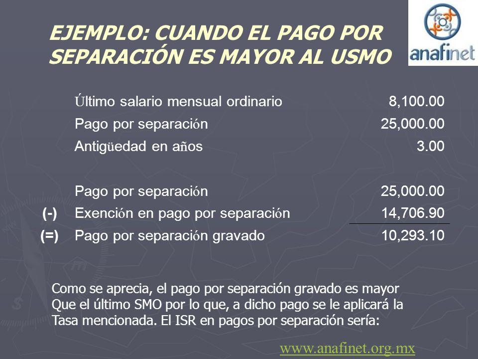 Ú ltimo salario mensual ordinario 8,100.00 Pago por separaci ó n 25,000.00 Antig ü edad en a ñ os 3.00 Pago por separaci ó n 25,000.00 (-)Exenci ó n e