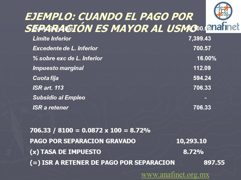 706.33 / 8100 = 0.0872 x 100 = 8.72% PAGO POR SEPARACION GRAVADO 10,293.10 (x) TASA DE IMPUESTO 8.72% (=) ISR A RETENER DE PAGO POR SEPARACION 897.55