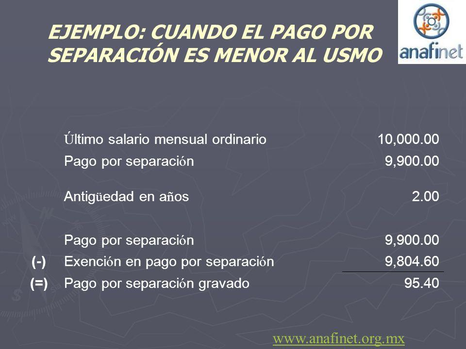 EJEMPLO: CUANDO EL PAGO POR SEPARACIÓN ES MENOR AL USMO Ú ltimo salario mensual ordinario 10,000.00 Pago por separaci ó n 9,900.00 Antig ü edad en a ñ
