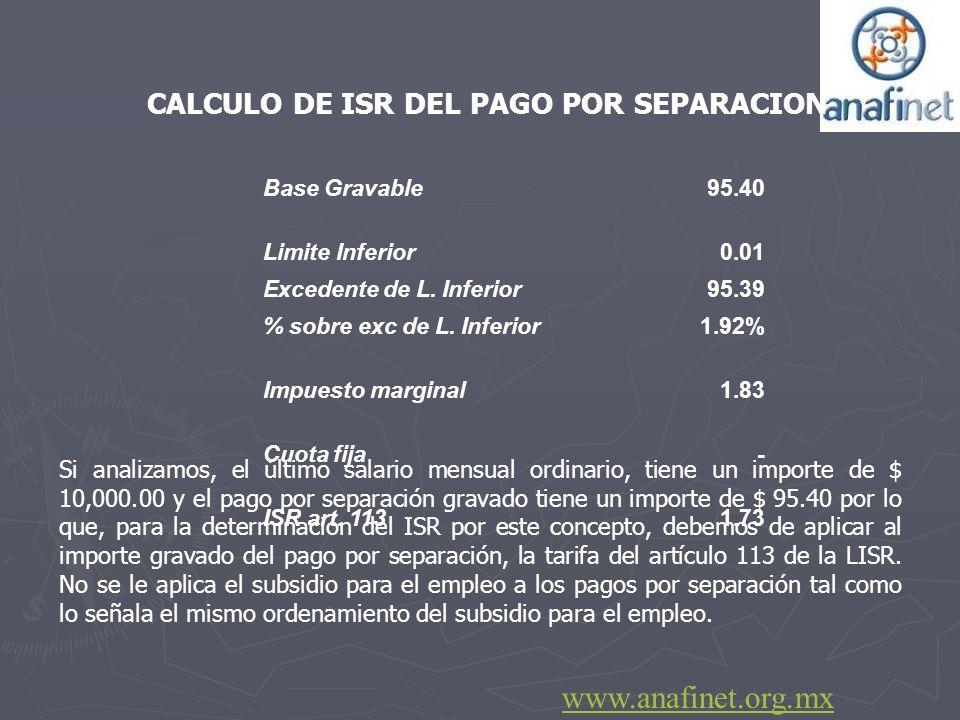 CALCULO DE ISR DEL PAGO POR SEPARACION Si analizamos, el último salario mensual ordinario, tiene un importe de $ 10,000.00 y el pago por separación gr