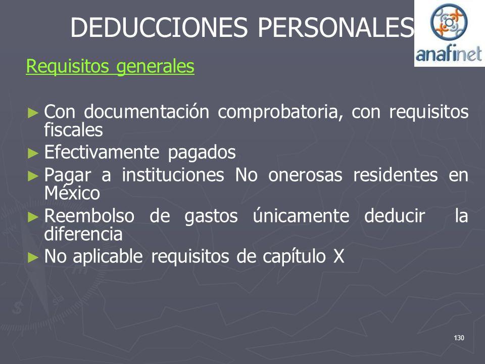 DEDUCCIONES PERSONALES Requisitos generales Con documentación comprobatoria, con requisitos fiscales Efectivamente pagados Pagar a instituciones No on