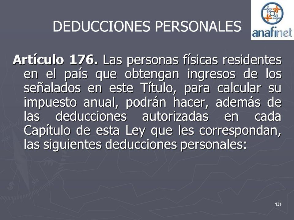 DEDUCCIONES PERSONALES Artículo 176. Las personas físicas residentes en el país que obtengan ingresos de los señalados en este Título, para calcular s