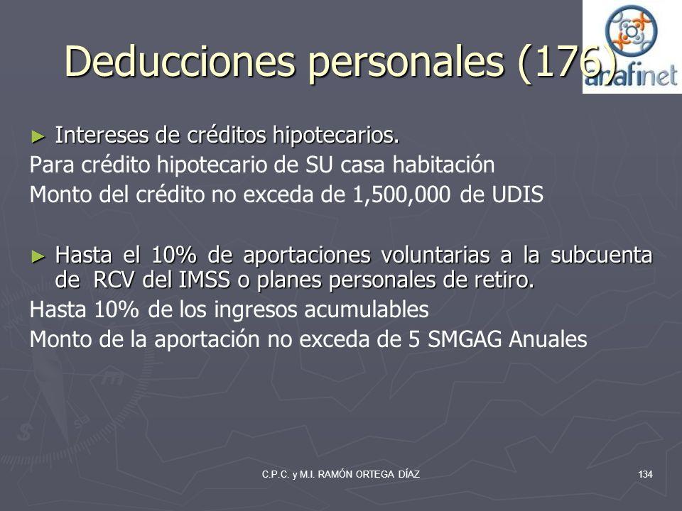 C.P.C. y M.I. RAMÓN ORTEGA DÍAZ Deducciones personales (176) Intereses de créditos hipotecarios. Intereses de créditos hipotecarios. Para crédito hipo