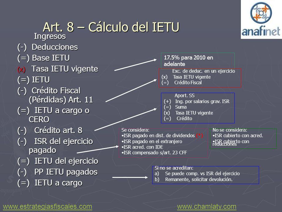 Art. 8 – Cálculo del IETU Ingresos Ingresos (-) Deducciones (=) Base IETU (x) Tasa IETU vigente (=) IETU (-) Crédito Fiscal (Pérdidas) Art. 11 (=) IET