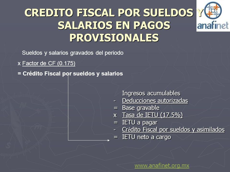 CREDITO FISCAL POR SUELDOS Y SALARIOS EN PAGOS PROVISIONALES Ingresos acumulables -Deducciones autorizadas = Base gravable x Tasa de IETU (17.5%) = IE