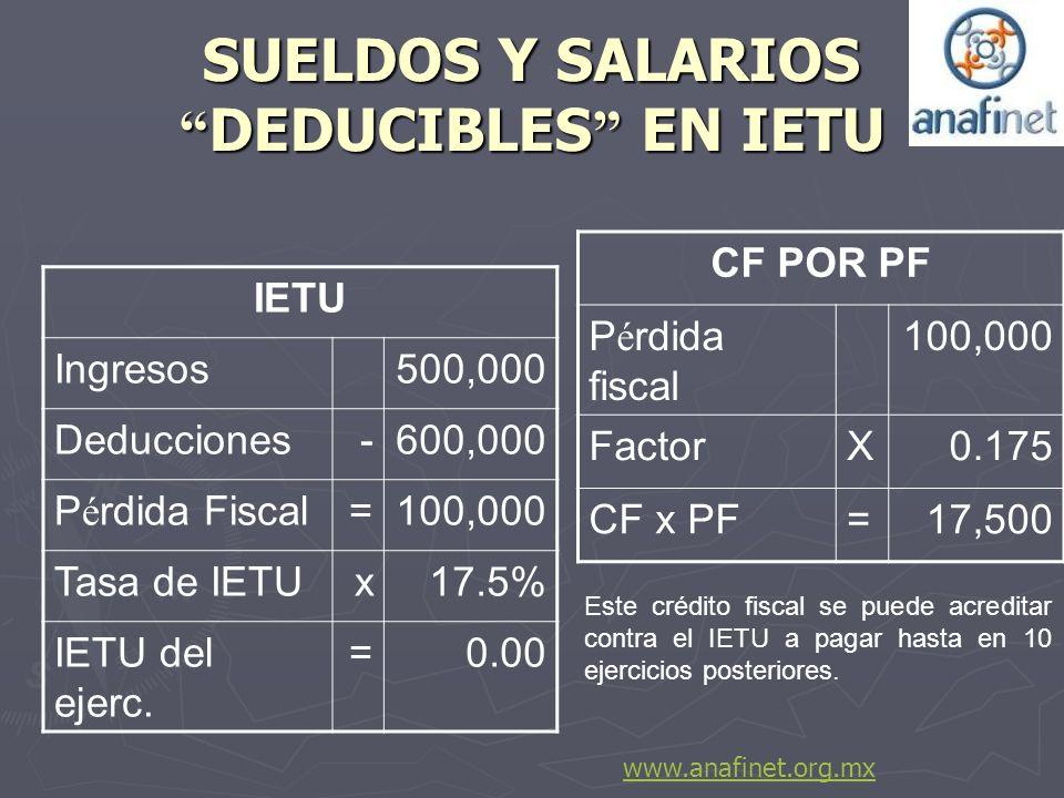 SUELDOS Y SALARIOS DEDUCIBLES EN IETU IETU Ingresos500,000 Deducciones-600,000 P é rdida Fiscal=100,000 Tasa de IETUx17.5% IETU del ejerc. =0.00 CF PO