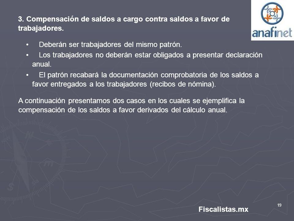 19 Fiscalistas.mx 3. Compensación de saldos a cargo contra saldos a favor de trabajadores. Deberán ser trabajadores del mismo patrón. Los trabajadores