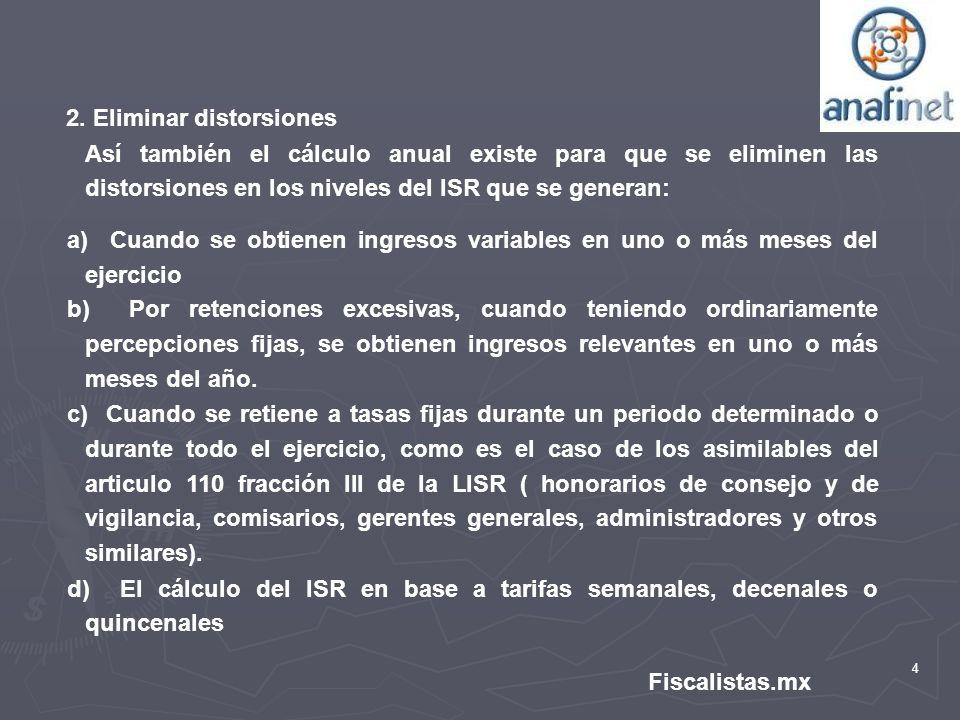 4 Fiscalistas.mx 2. Eliminar distorsiones Así también el cálculo anual existe para que se eliminen las distorsiones en los niveles del ISR que se gene