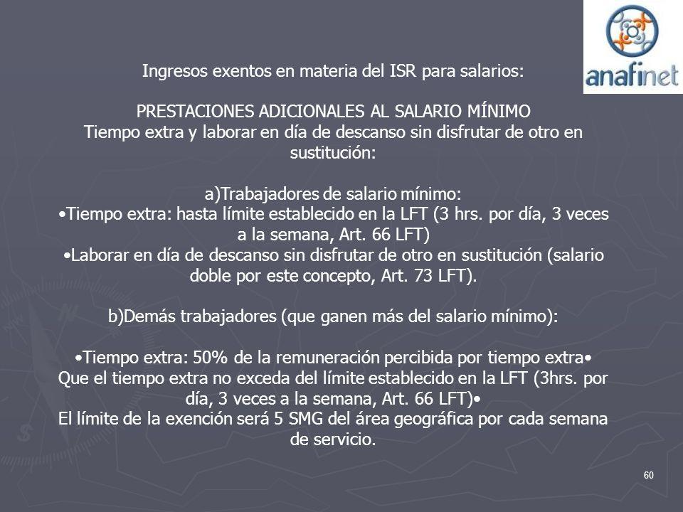60 Ingresos exentos en materia del ISR para salarios: PRESTACIONES ADICIONALES AL SALARIO MÍNIMO Tiempo extra y laborar en día de descanso sin disfrut