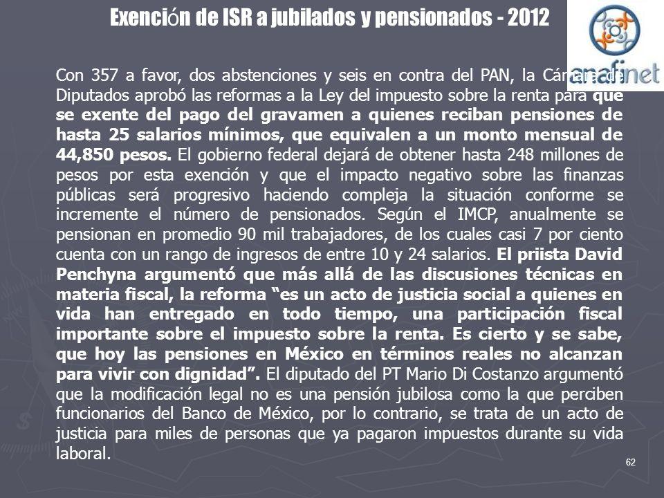 62 Exenci ó n de ISR a jubilados y pensionados - 2012 Con 357 a favor, dos abstenciones y seis en contra del PAN, la Cámara de Diputados aprobó las re