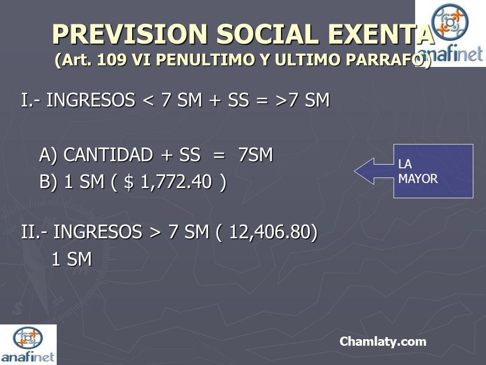PREVISION SOCIAL EXENTA (Art. 109 VI PENULTIMO Y ULTIMO PARRAFO) I.- INGRESOS 7 SM A) CANTIDAD + SS = 7SM B) 1 SM ( $ 1,772.40 ) B) 1 SM ( $ 1,772.40