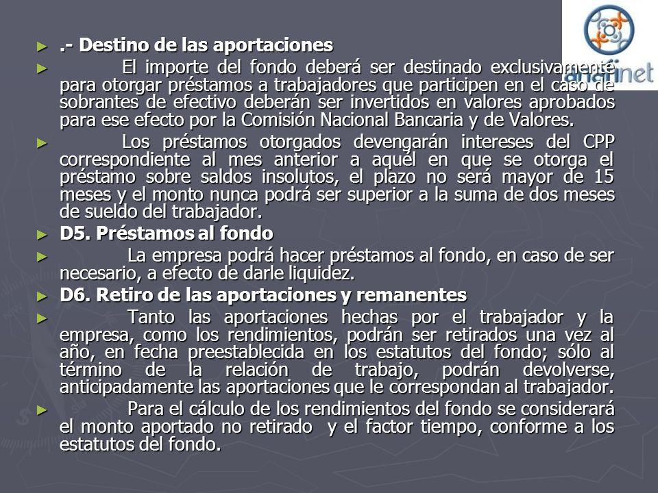 .- Destino de las aportaciones.- Destino de las aportaciones El importe del fondo deberá ser destinado exclusivamente para otorgar préstamos a trabaja