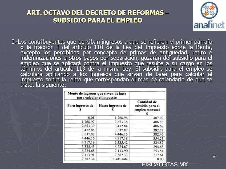 93 ART. OCTAVO DEL DECRETO DE REFORMAS – SUBSIDIO PARA EL EMPLEO I.-Los contribuyentes que perciban ingresos a que se refieren el primer párrafo o la