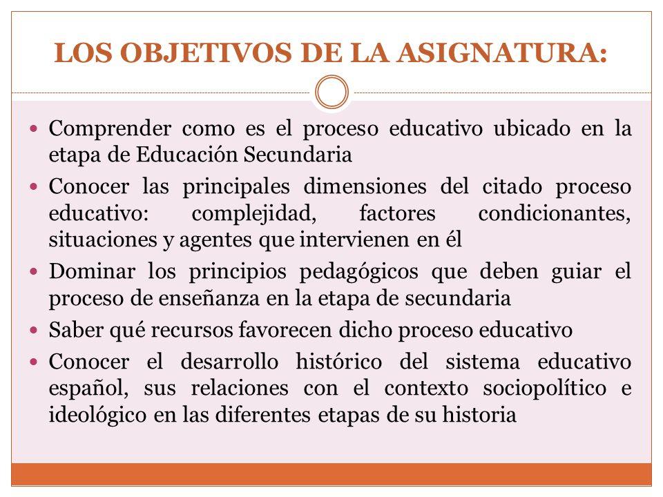 LOS OBJETIVOS DE LA ASIGNATURA: Tener en cuenta, las normas que sobre la Educación Secundaria se han venido generando, para dar respuesta a las necesidades educativas del alumnado, de dicho nivel del sistema educativo Obtener conocimiento de la situación de la Educación Secundaria en el contexto europeo