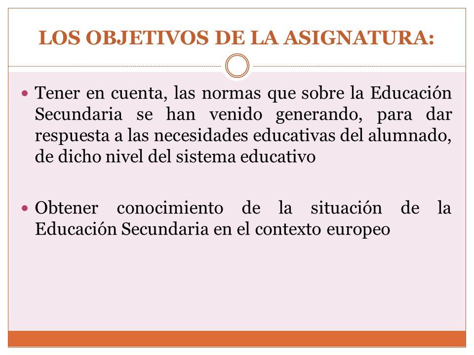 LOS CONTENIDOS DE LA ASIGNATURA: 1.- El Sistema Educativo Español 1.1.- Origen y evolución 1.2.- La L.O.E.