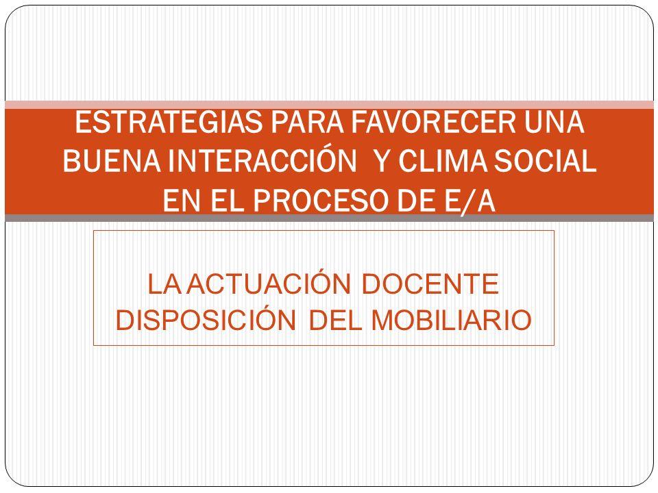 LA ACTUACIÓN DOCENTE DISPOSICIÓN DEL MOBILIARIO ESTRATEGIAS PARA FAVORECER UNA BUENA INTERACCIÓN Y CLIMA SOCIAL EN EL PROCESO DE E/A